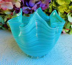 Murano Venetian Glass Fazzoletto Vase ~ Threaded ~ Turquoise (Donna's Collectables) Tags: murano venetian glass fazzoletto vase threaded turquoise thanksgiving christmas