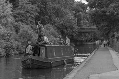 Regent's Canal 3 (stevefge) Tags: london regentscanal uk canals boats people candid towpath blackandwhite bw reflectyourworld