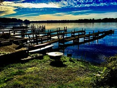 Blue morning… (Dennis Sparks) Tags: docks michigan springlake morning color iphone