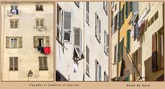Fentres et faades d'Ajaccio (Xtian du Gard) Tags: ajaccio corse france fentres windows maisons houses triptyque triptych