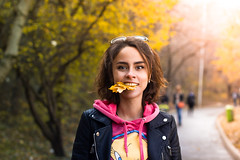 yummy :) selfportrait (marianna.ruadze) Tags: selfportrait black white look woman girl shadow people new multicolor colored color autumn fall leaf smile leather jackets sunlight sunshine sun shine sunbeam joy happiness road hunger naughtiness portrait
