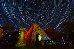 Stargate Valhalla - Star Trails from the Great Pyramid at Arklow (Edward Wolohan) Tags: astrophotography astronomy astrophoto timelapse nightsky newmoon startrail startrails pyramid lightpainting cemetery graveyard space universe winter