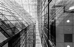 Downtown Houston 2 (3026 Photography) Tags: architecture architectural city downtown leadinglines monochrome monochromatic glass blackwhite building skyscraper sky infrastructure structures lines reflection houston minimalistic minimalism indoor