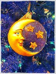The Moon and the Stars (Thad Zajdowicz) Tags: photoborder christmas xmas ornament decoration bright vivid vibrant color zajdowicz pasadena california cellphone motorola aviary droid turbo indoor inside holidays festive