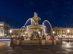 Place de la Concorde Fountain Blue Hour (elliott845) Tags: fountain fontainedelaconcorde placedelaconcorde paris europe bluehour thebluehour lowlightphotography longexposure dusk evening