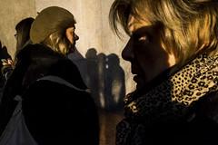 (Giovanni Stimolo) Tags: woman walk eyes eye yellow urban people portrait streetphotography street streetportrait shadow fujifilmfinepixx100s fuji face girl girls green hair head hat light look x100s city colors color mask