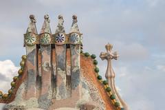 Casa Batllo Chimneys and Cross (Glenn Shoemake) Tags: canon2470f28lii gaudi casabatllo barcelona