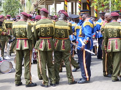 Green and blue together (prondis_in_kenya) Tags: kenya nairobi shortrains holyfamily basilica church cathedral catholic uniform uniformedservices thanksgiving music instrument