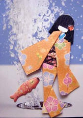 ATC1219 - A fishy tale (tengds) Tags: flowers blue orange white fish atc geisha kimono obi origamipaper papercraft japanesepaper ningyo handmadecard waterbubbles chiyogami magazinepage japanesepaperdoll origamidoll nailartsticker tengds