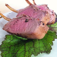 Lamb rack on mustard leaves from the garden