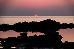 Couleurs de Crte (Lucille-bs) Tags: sunset mer night europe cloudy pastel creta greece stavros grce rocher coucherdesoleil kriti akrotiri crte