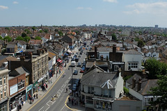 Leigh-on-Sea Broadway looking east from St Clement's Church tower (ho_hokus) Tags: uk england view broadway essex leighonsea southend x20 stclementschurch fujix20 fujifilmx20