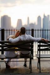 eilifint (gi.photostream) Tags: nyc wedding woman man skyline brooklyn engagement nikon promenade d3s brenizermethod sigma85mmf14
