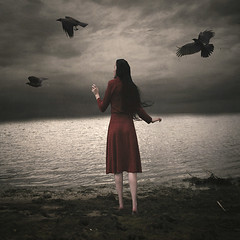 Lost at Sea (Erin Graboski) Tags: red portrait lake selfportrait art nature water girl birds digital dark landscape photography artist fineart surreal textures fantasy squareformat conceptual crows aritst digitalphotography fineartphotography darkart conceptualart surrealphotography conceptualphotography fantasyphotography squareformatphotography texturebylesbrumes