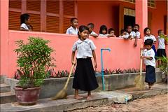 Nana Sweeping 1283 (Ursula in Aus) Tags: school children cambodia khmer classroom uniforms siemreap sweeping earthasial sandanschool