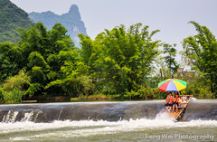 Little Advanture On Yulong River (Feng Wei Photography) Tags: china travel summer vacation cloud mountain color reflection tourism beautiful beauty horizontal rural relax landscape fun liriver boat scenery colorful asia tour view outdoor guilin yangshuo relaxing scenic peaceful tranquility landmark serenity vista serene raft tranquil guangxi advanture yulongriver