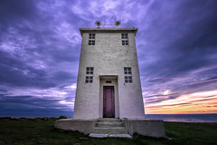 Lighthouse At The End of The Earth (TheFella) Tags: ocean door travel blue sunset summer sky sun lighthouse building slr water architecture clouds digital photoshop photography coast photo iceland nikon europe european purple cloudy dusk fineart steps landmark arctic doorway photograph processing nordic bluehour dslr puffins cloudscape sland midnightsun lavendar d800 icelandic westfjords postprocessing travelphotography birdcliff ltrabjarg latrabjarg northiceland westiceland thefella conormacneill thefellaphotography