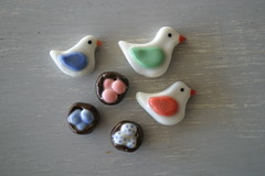 Porcelain Brooches and hair pins (thelittlewhitecloud) Tags: pieces been have busy porcelain i thelittlewhitecloud