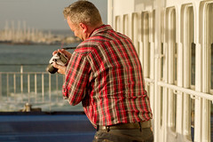 Did I get it (Rusty Marvin - JohnWoracker.com) Tags: camera red shirt ferry canon boat dad photographer jeans photograph wightlink portsmouth ryde
