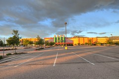 Tinseltown USA in the Morning (Daniel J. Mueller) Tags: morning trees light usa mountains clouds movie empty parking lot lamps hdr tinseltown d800e