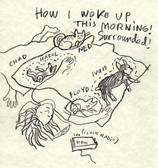 how i woke up this morning (EllenJo) Tags: morning sleeping pets selfportrait art me chad drawing ivan cartoon hazel floyd ned wakingup 2013 bedhogs ellenjo ellenjoroberts
