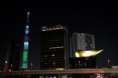 Tokyo Sky Tree and Asahi Beer Hall - EXPLORED (AnotherSaru - Limited mode) Tags: japan night tokyo  nippon  sumida nihon sumidaku sumidariver  asahibeerhall kinnounko  kantchih  poobuilding unkobiru kantregion tokyoskytree   nishikant
