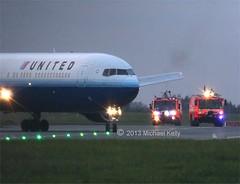 United Airlines        Boeing 767                 N655UA (Flame1958) Tags: united firetruck fireengine boeing ual dub ua unitedairlines enroute dublinairport 1113 boeing767 b767 2013 medicalemergency eidw airportrescue ua949 airportfireservice ual949 n655ua 191113 medicaldiversion united949