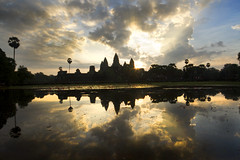 Sunrise at Angkor (Paddy McDougall) Tags: sky reflection water clouds sunrise canon cambodia angkorwat 7d