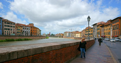 Looking along Lungarno Pacinotti and the Fiume Arno River Arno on the other side Lungarno Gambacorti Pisa Tuscany Italia Italy (Minoltakid) Tags: street old city people italy streets heritage clouds buildings river italia cityscape fiume may oldbuildings streetscene it historic via pisa lamppost tuscany arno toscana citycentre historiccity citta riverarno arnoriver historicbuildings fiumearno italiancity colourfulbuildings colourfulhouses 2013 cityphotography beautifulbuildings lungarnogambacorti lungarnopacinotti historiccitycentre provinceofpisa lookingalong minoltakid theminoltakid historiccitycentreofpisa historicitaliancity