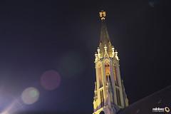 Steeple - Stadtkirche Walldorf (Andy Brandl (PhotonMix.com)) Tags: church modern night germany deutschland nikon traditional illuminated steeple d800 walldorf lensflares badenwrttemberg stadtkirche