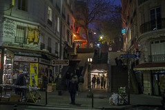 . (Le Cercle Rouge) Tags: paris france night stairs darkness montmartre 75018 lamarckcaulaincourt wwwlecerclerougecom