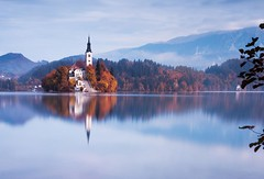 Another Lake Bled (alexbaxterca) Tags: longexposure morning autumn lake church sunrise slovenia bled lakebled canon6d