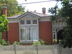 A Federation Queen Anne Red Brick Villa - Ballarat (raaen99) Tags: door city windows chimney house building tree home window leaves architecture stairs facade fence garden post architecturaldetail queenanne terracotta pillar steps decoration entrance australia stainedglass victoria artnouveau porch villa verandah nouveau residence whitepicketfence 20thcentury frontdoor stainedglasswindow feature edwardian gable ballarat picket 1900s redbrick jugendstil picketfence finial fretwork countryvictoria baywindow belleepoque gardenfence domesticarchitecture twentiethcentury bellepoque newelpost neilst architecturalfeature queenannestyle neilstreet queenannearchitecture edwardiana provincialvictoria soldiershill terracottarooftiles federationqueenanne federationqueenannearchitecture artnouveaustainedglass woodenfretwork artnouveaustainedglasswindow federationqueenannestyle