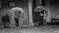 Just singing and dancing in the rain... (B.B.H.70) Tags: girls blackandwhite espaa blancoynegro rain umbrella lluvia spain segovia nias paraguas pedraza singingintherain dancingintherain cantandobajolalluvia vision:outdoor=0949