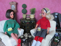 (5) Catching Up (Foxy Belle) Tags: uk plants white black clock scale vintage living cozy chair doll furniture room grandfather rubber 16 dresser diorama pedigree sindy