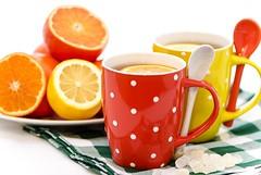 Citrus Tea (Curly Courland) Tags: hot cup tangerine mandarine fruit lemon drink sweet mug mandarin served citrus sour
