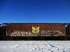 ALAMO, EACH2 (YardJock) Tags: canada art graffiti ipc spraypaint boxcar hopper freighttrain rollingstock wheatie grainer benching paintedsteel