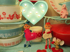 Valentine's Day Display 2014 (AquaOwl) Tags: pink red vintage friendship turquoise elf valentinesday pyrex elves butterprint pinkleavesplate