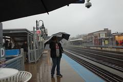 Chicago + rain (KevinIrvineChi) Tags: city railroad urban chicago rain station fog umbrella grey downtown cta publictransit loop gray foggy rainy transit l chilly elevated umbrellas elevatedtrain chicagoist diversey ctabrownline chicagorain rainychicago