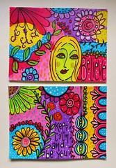Doodles postcards (MakeArtBeHappy) Tags: flowers colors face acrylic postcard card doodles artcard boldcolors doodleart happyart colorfulart doodlesonpaint