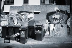 Boulevard of Broken Dreams and the Angel (weirdoldhattie) Tags: urban streetart art bristol graffiti bin dustbins bs6 lowercheltenhamplace