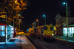 RHTT at Garforth (Richard Croft136) Tags: garforth station leeds class 20 drs 20302 choppers pair top tail rail head treatment railway rails network direct services night time autumn ambient ambience atmosphere atmospheric late dark shelter east platform shadows building sigma 50mm f14 nikon d800 full frame signal green
