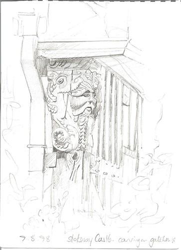 Stokesay Castle. Dragon beam on gatehouse. 1998. V. Bowd.