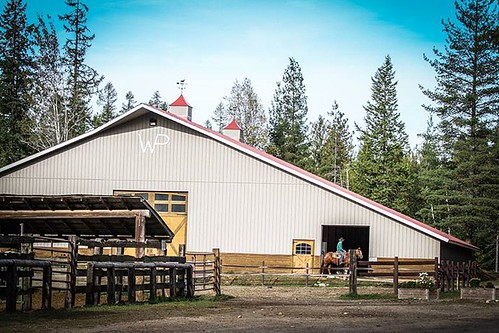 The indoor and outdoor arenas at Western Pleasure Guest Ranch