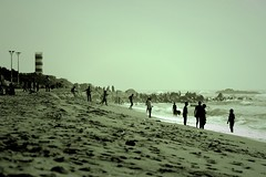 Of people and beach (Dream.wide.open) Tags: india indian beach vizag people crowd view relax waves blackandwhite outdoor sand footprints flickr photography nature scenic