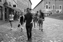 The best part of my life. (Ondeia) Tags: urbino marche italia italy friends walking bianco bw bn movimento camminare