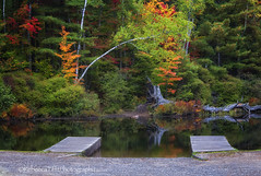 fall colors with docks (Rebecca Tifft) Tags: reflection fallcolors fall autumn docks water stream canal landscape