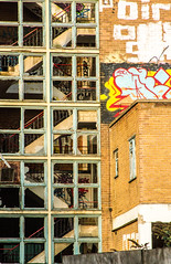 no windows just stairs (PDKImages) Tags: kelham sheffield sheffieldstreetart sheffieldart abandoned broken urban lost contrasts skull yorkshire desolate windows