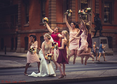 Jumping Bridesmaids on Broad (ViewFromTheStreet) Tags: allrightsreserved blick blickcalle blickcallevfts broadstreet calle candid copyright2016 pennsylvania philadelphia photography stphotographia streetphotography unionleague viewfromthestreet amazing beauty bouquet bridalparty bride bridesmaids classic dress female flowers girl jump jumping pretty street vftsviewfromthestreet weddingdress weddingparty woman blickcallevfts copyright2016blickcalle