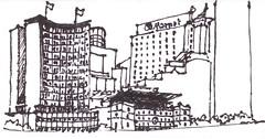 Napkin Sketch Sydney Harbour 02 (panda1.grafix) Tags: sydneyharbour sketch blackandwhite